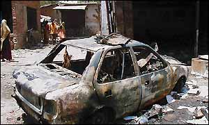 A burnt car in Ahmedabad