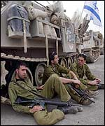 Israeli soldiers rest during Operation Defensive Shield