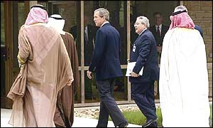 President Bush with the Saudi delegation