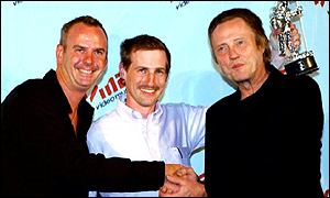 Jonze (centre) with Fatboy Slim (left) and Walken