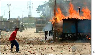A scene of rioting in Ahmedabad