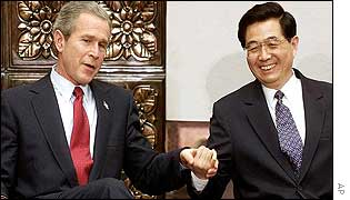 Hu Jintao (right) with US President George W Bush in Beijing, February 2002