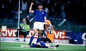 Paolo Maldini celebrates Roberto Baggio's goal against Czechoslovakia at Italia 90