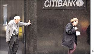 Man resting outside Citibank