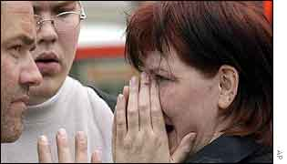 Distraught people outside the school in Erfurt