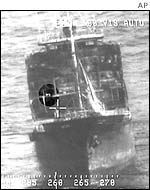 Forgea (circled) on the abandoned tanker Insiko