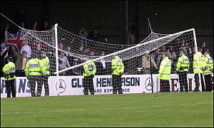 Airdrie fans smashed the goal