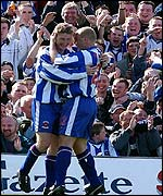 Hartlepool's Eifion Williams celebrates his goal with Gordan Watson