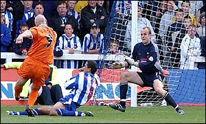 Cheltenham's Neil Grayson scores a late equaliser against Hartlepool