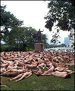 nude. Brazilians take their task lying down
