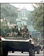 Indonesian troops patrolling Ambon