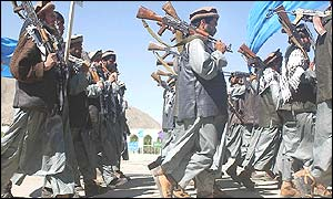 Mujahideen fighters parading in Kabul