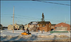 Teepee and skidoo rider in a Cree community  BBC
