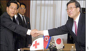 Japanese Red Cross official Higashiura Hirushi (right) with North Korean counterpart Ri Ho Rim