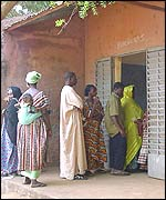 Queue at a polling booth in the capital, Bamako