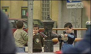 Immigrant children play in Vienna