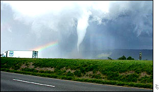 A funnel cloud touches down near Interstate 81 in Shenandoah County, Virginia.