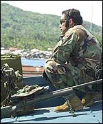 US soldier on a roof, Isabela city