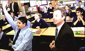 Prime Minister Tony Blair in a classroom