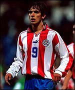 Paraguay's Roque Santa Cruz last played at home in October 2001