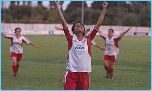 Jess in Bend It Like Beckham celebrates during a match