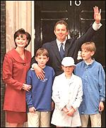 Prime Minister Tony Blair and family after 1997 election victory