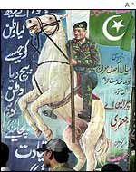 A poster showing Pervez Musharraf on a white charger