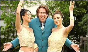 Jonathan Ross with dancers Ishrat Shan and Karishma Kotak