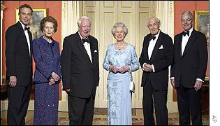 Tony Blair, Margaret Thatcher, Edward Heath, the Queen, Jim Callaghan, John Major
