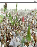 Supporters of opposition political parties and Islamic groups participate in an anti-Musharraf rally in Lahore