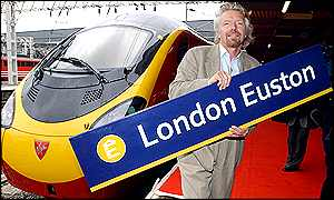 Sir Richard Branson unveils the Italian-designed Pendolinos