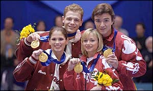 The Russians and Canadians show off their golds