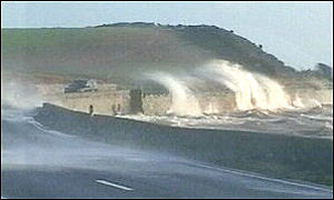 County Down coast lashed by waves