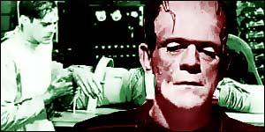 Frankenstein monster and laboratory graphic