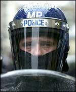 Police officer at the 2001 Mayday protests