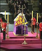The Queen Mother's  lying in state in Westminster Hall
