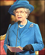 The Queen delivering her Golden Jubilee speech