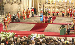 Queen and Prince Phillip in Westminster Hall