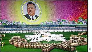 North Korean workers and students perform during the opening event of Arirang Festival