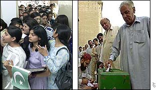 Left: Women queue up to vote in Rawalpindi, Pakistan; Right: Men line up in Karachi