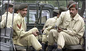 Pakistani soldiers patrol in Rawalpindi, Pakistan