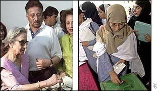 Left: General Musharraf with his mother, left, and his wife; Right: Students cast their votes in Karachi