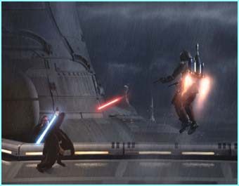 Obi-wan in mid-battle...with his lightsabre...in the rain! - How cool is that!