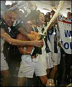 West Brom celebrate winning promotion
