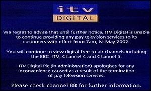 Screengrab of ITV Digital's message to subscribers
