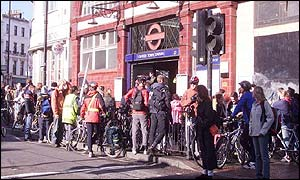 Cycle protests leaving Camden Town