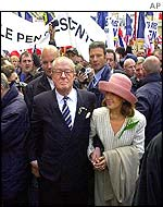 Jean-Marie Le Pen with his wife and supporters