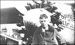 Charles Lindbergh with his plane, photo courtesy of the Lindbergh Foundation
