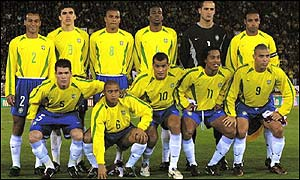 Brazil line up prior to their recent friendly against Portugal