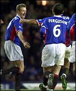 Bert Konterman celebrates scoring Rangers' second goal